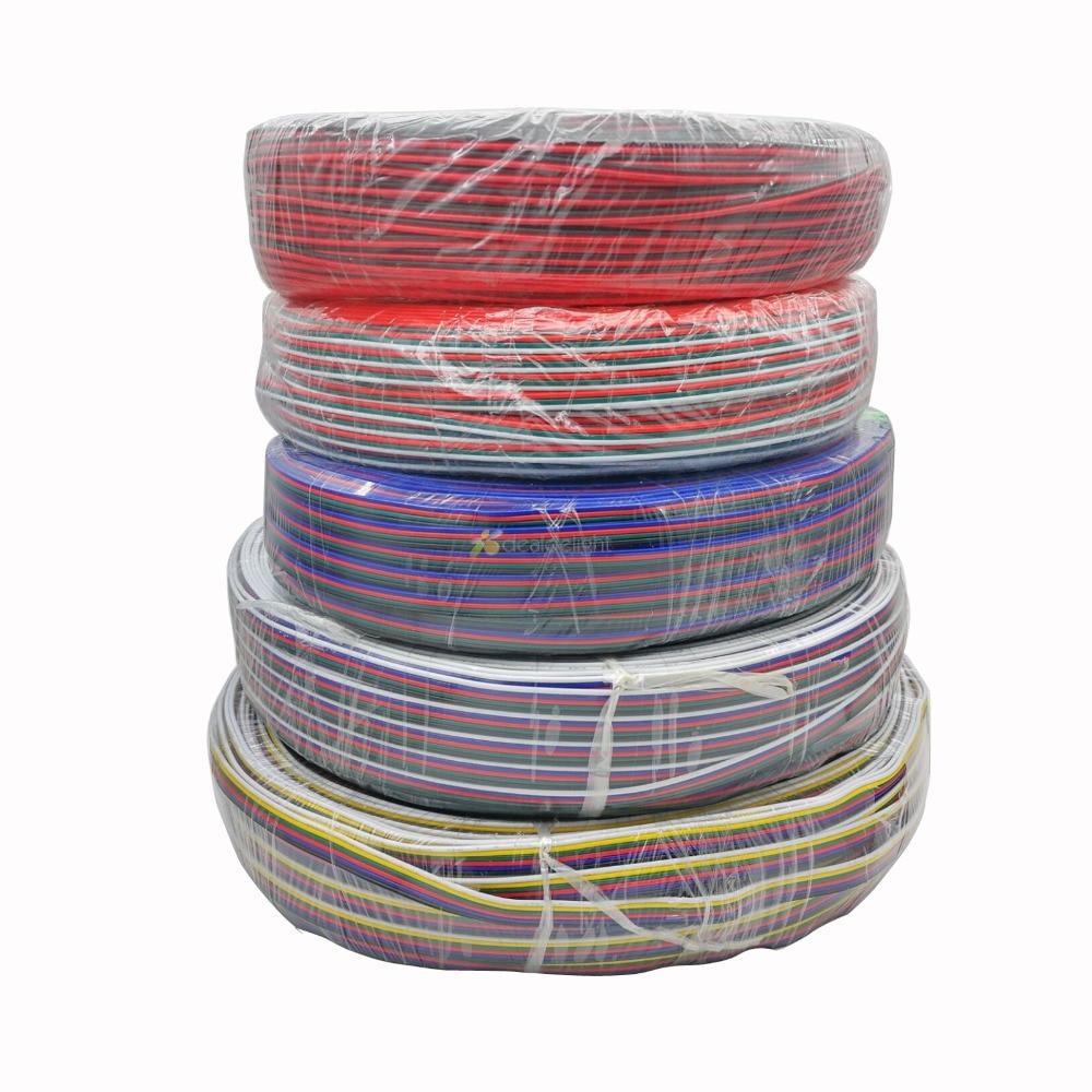 2Pin 3pin 4Pin 5Pin 6pin Cable de extensión eléctrico Cable conector 22AWG 5 m/10 m/20 m/50 m para RGB + CCT RGBW tira LED