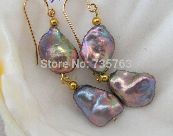 xiuli 00323  baroque gray KESHI REBORN pearl earrings 14KGP