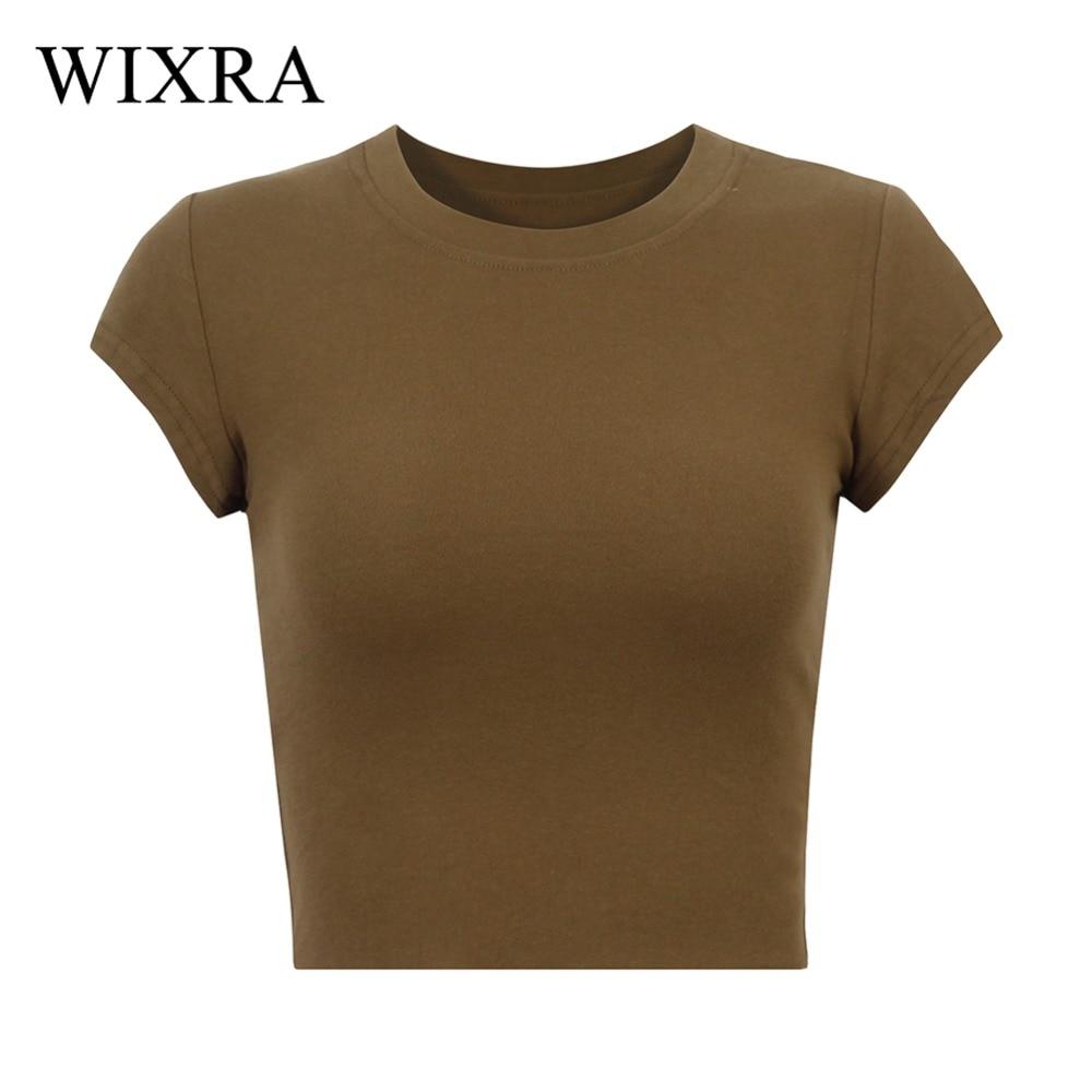 Wixra, Camiseta básica para mujer, camiseta de pantalón corto casual con manga sólida de algodón con cuello redondo, camiseta para mujer, Top corto, camisetas de verano para mujer