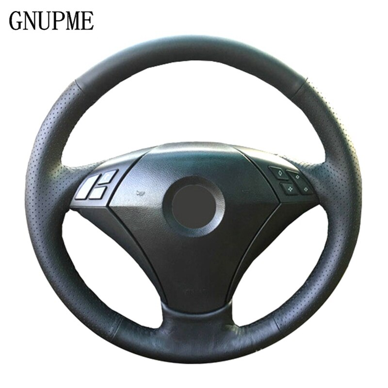 GNUPME DIY Black Artificial Leather Hand-Stitched Car Steering Wheel Cover for BMW 530 523 523li 525 520li 535 545i E60