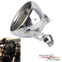 "Universal 7"" Round Motorcycle Headlight Housing Bucket 7 Inch Headlamp Bracket Shell For Harley Cafe Racer Chopper Bobber"