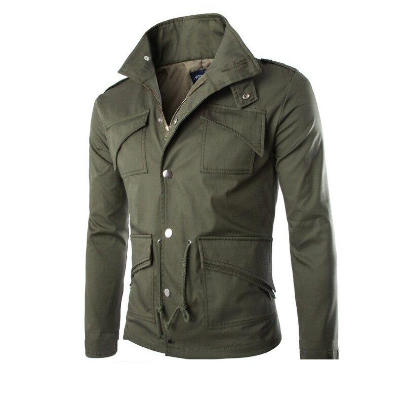 Faroonee hombres otoño bombardero chaqueta de manga larga Multi bolsillos chaqueta Casual ropa deportiva abrigo con cremallera chaquetas abrigo Y177