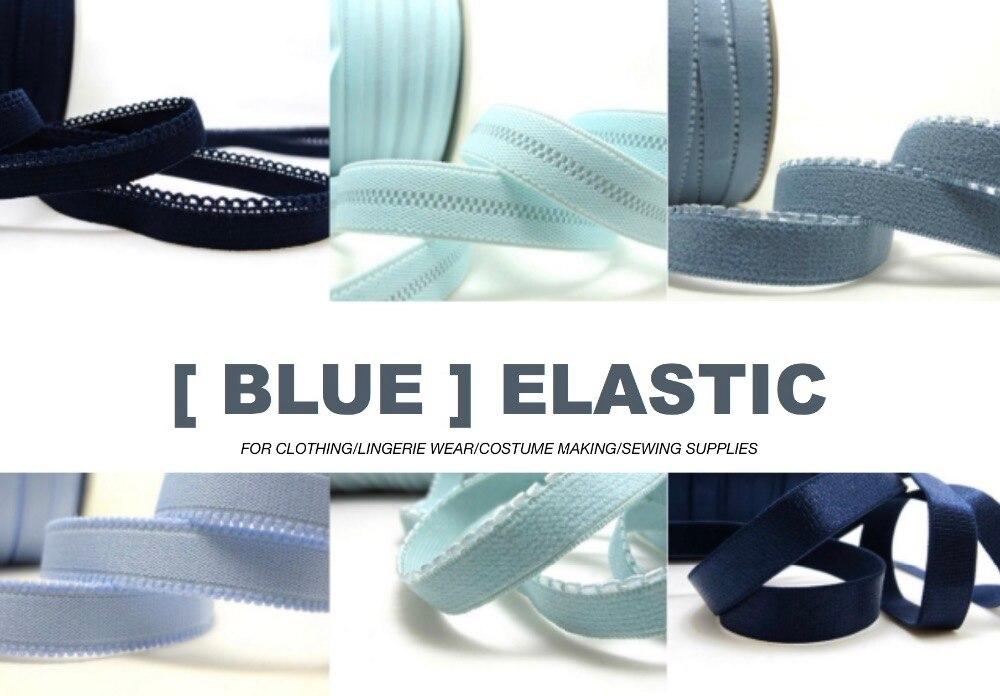 6 Yards BLUE Color Decorative Pattern Lingerie Elastic Headband Elastic Skinny Elastic Narrow Stretch Lace Bra Strap