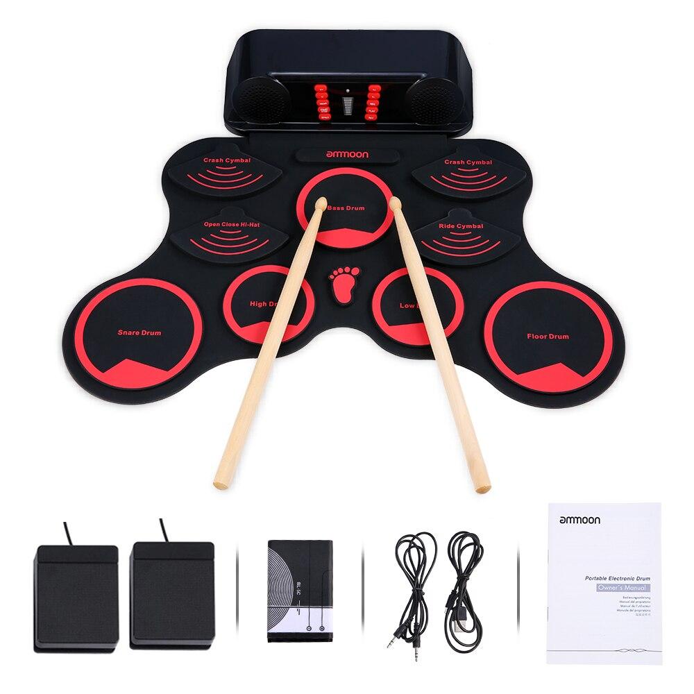Ammoon Roll-Up Tambor Elétrica MIDI Drum Set 9 Pastilhas de Silício Durm Alto-falantes Estéreo Bateria Recarregável com Pé pedais