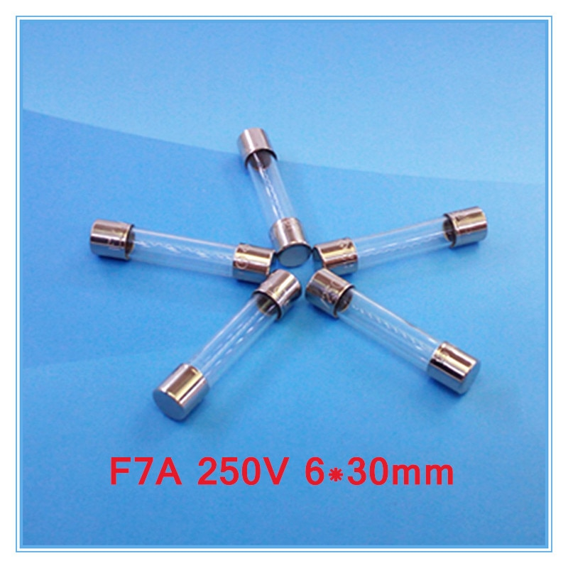 (100 unids/lote) F7A 250V 6x30mm fusible de tubo de vidrio de soplado rápido, UL VDE RoHS aprobado, 7Amp.
