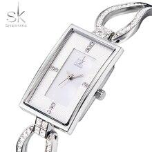 SK Rectangle squelette strass marque de luxe en acier Quartz montre mode femmes horloge femme dames robe montre-bracelet cadeau argent
