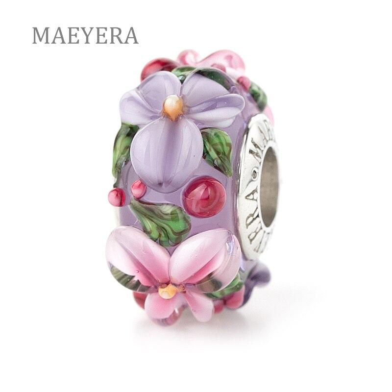 Maeyera jóias real s925 núcleo rosa-violeta estéreo pétalas de vidro murano contas caber charme europeu jóias 920340