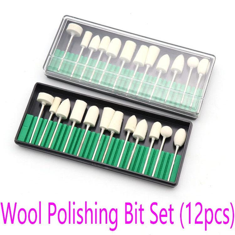 12 pçs conjunto de bits de lã de polimento de lã brocas de manicure elétrica conjunto de broca de polimento conjunto de ferramentas abrasivas ferramentas de unha arte equipamento 3/32