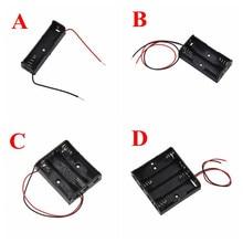 حافظة بطاريات بلاستيكية سوداء حجم AA حافظة حامل الصندوق يؤدي مع 1 2 3 4 فتحات AA حجم صندوق تخزين بطارية الطاقة 2.26