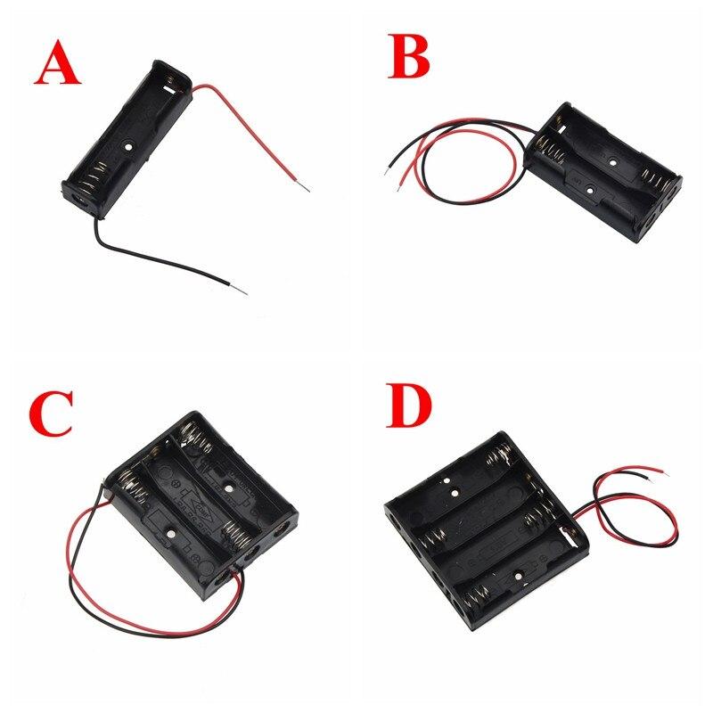 De plástico negro Tamaño AA caja de almacenamiento de pilas titular de la caja de pistas con 1, 2, 3, 4 ranuras Tamaño AA caja de almacenamiento de pilas caja 2,26