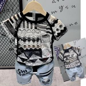 Children's clothing set Hollow short-sleeved shorts suit kids suit  Baby T-shirt + shorts clothes 2-6 years old