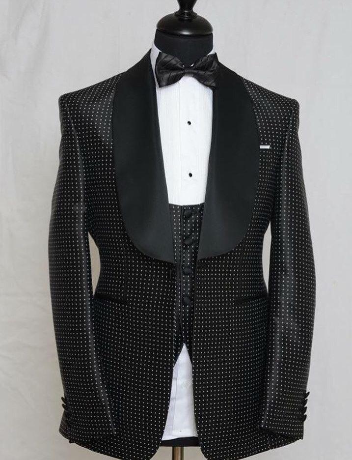 Moderno esmoquin de un botón con puntos negros para novio mantón solapa padrinos de boda trajes de 3 piezas para hombre (chaqueta + Pantalones + chaleco + corbata) NO 271