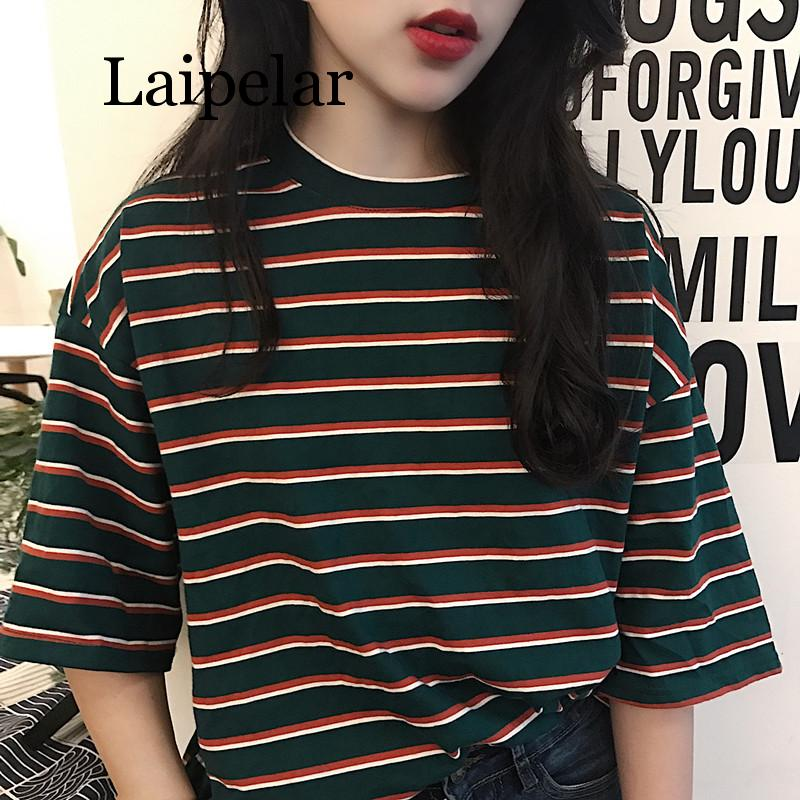 Laipelar Summer Fashion T-shirt Women Korean Harajuku Loose Striped Short Sleeve T-shirts Casual Top