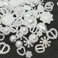 Résine ABS blanche demi-ronde pour téléphone   Perles Alien, en résine ABS blanches, demi-rondes, pour Art Flatback, strass Non correcteurs, chaussures de perles, perles de bricolage 50/100 pièces