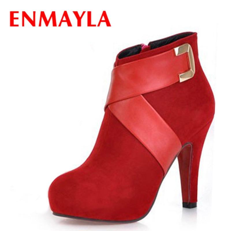 ENMAYLA, botines en negro rojo rosa, bota corta a la moda para mujer, calzado de invierno, zapatos de tacón alto, botas Sexy para mujer