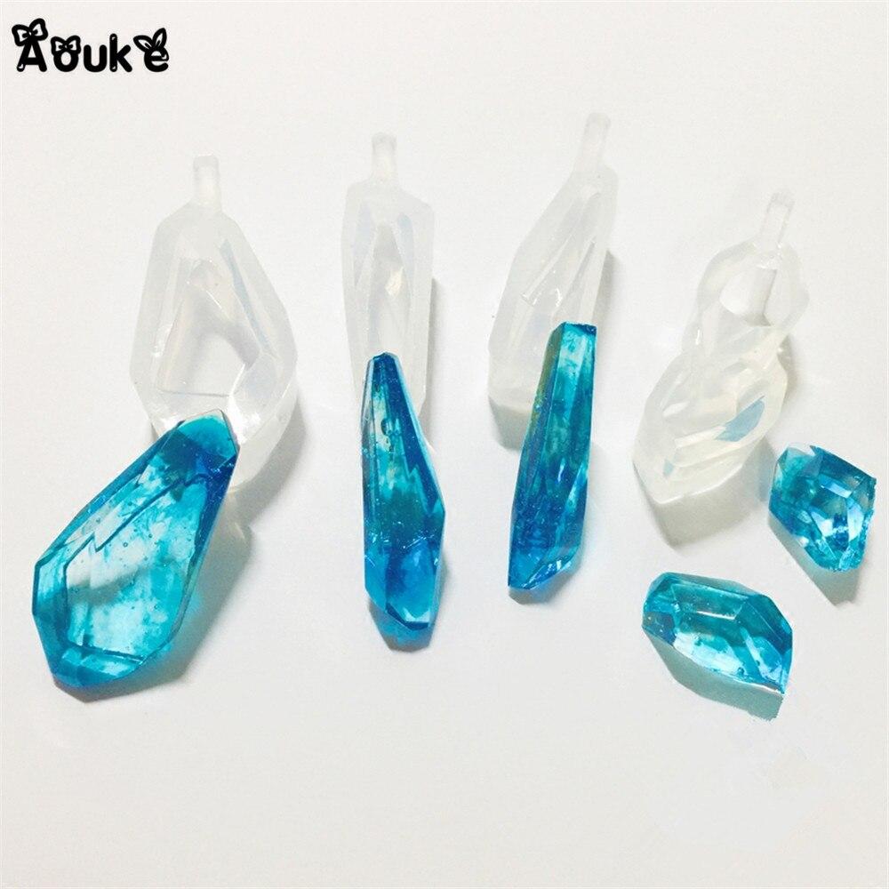 3d forma de pedra preciosa alta-definição jóias translúcido silicone molde diy pingente ferramentas colar cola epoxy bolo decoração molde aouke