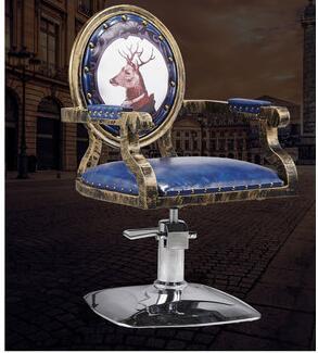 الحديد الفن خمر صالون حلاقة كرسي خاص قابل للتعديل الظهر البراز المد متجر قطع الشعر كرسي.