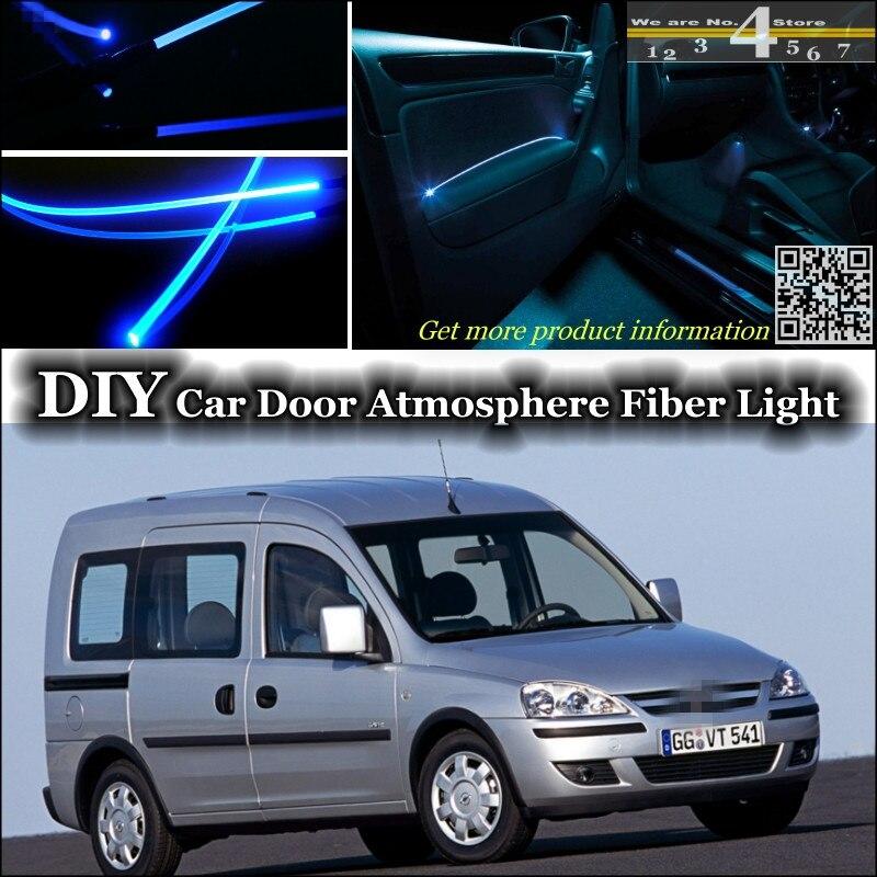 Luz ambiente interior atmosfera de sintonia luzes faixa de fibra óptica para opel combo d ram dentro da porta do painel de iluminação não luz