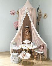 Moustiquaire en dentelle pour chambre de bébé   En mousseline, rideau de lit rond pour enfants, accessoires de photographie de tente, baldachin de 240cm