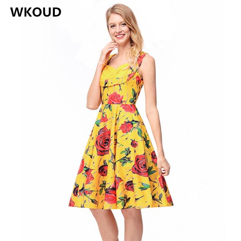 WKOUD женское платье 2018 моды FlowerVintage цифровые печатные Платья для вечеринок женский