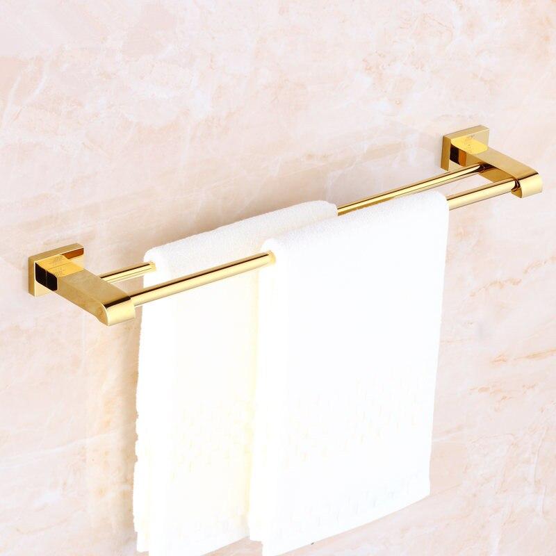 الحمام مزدوجة منشفة البارات النحاس منشفة رفوف الحائط حمام منشفة بار الذهب 40-60 سنتيمتر حمام الأجهزة الحمام اكسسوارات