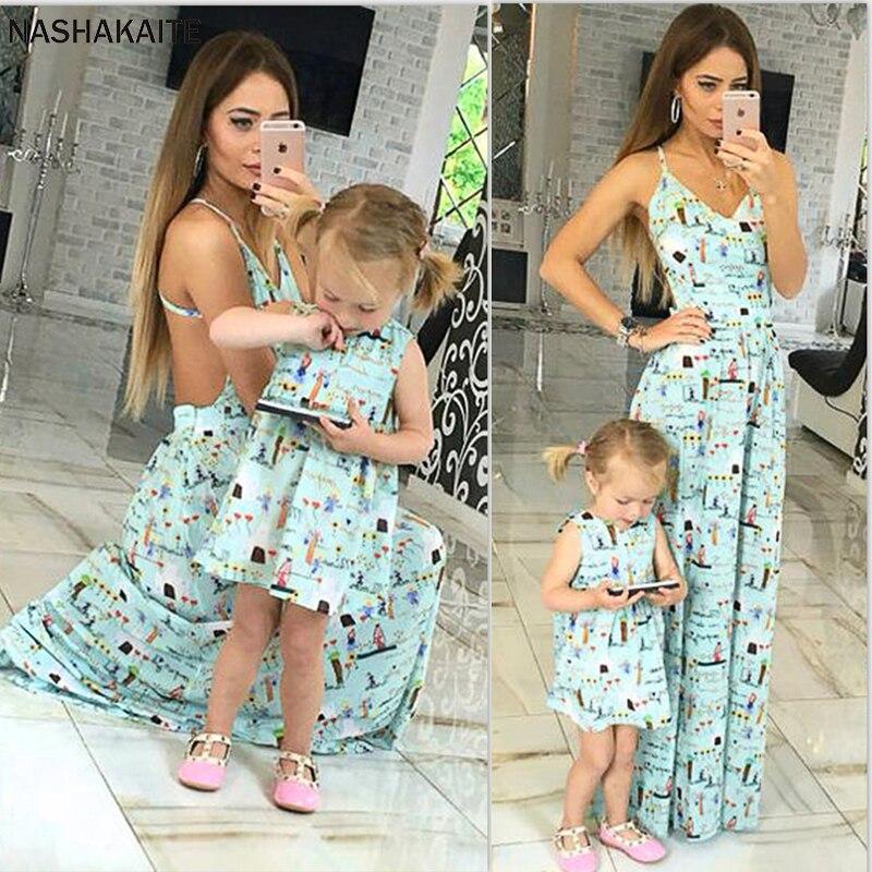 NASHAKAITE mamá y yo ropa sin mangas dulce lindo espagueti Vestido largo con tirantes madre hija vestidos Vestido mae e filha