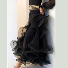 Dames moderne valse Standard Flamenco noir violet salle de bal danse jupe salsa robe jupes professionnelles femmes robes 7 couleurs