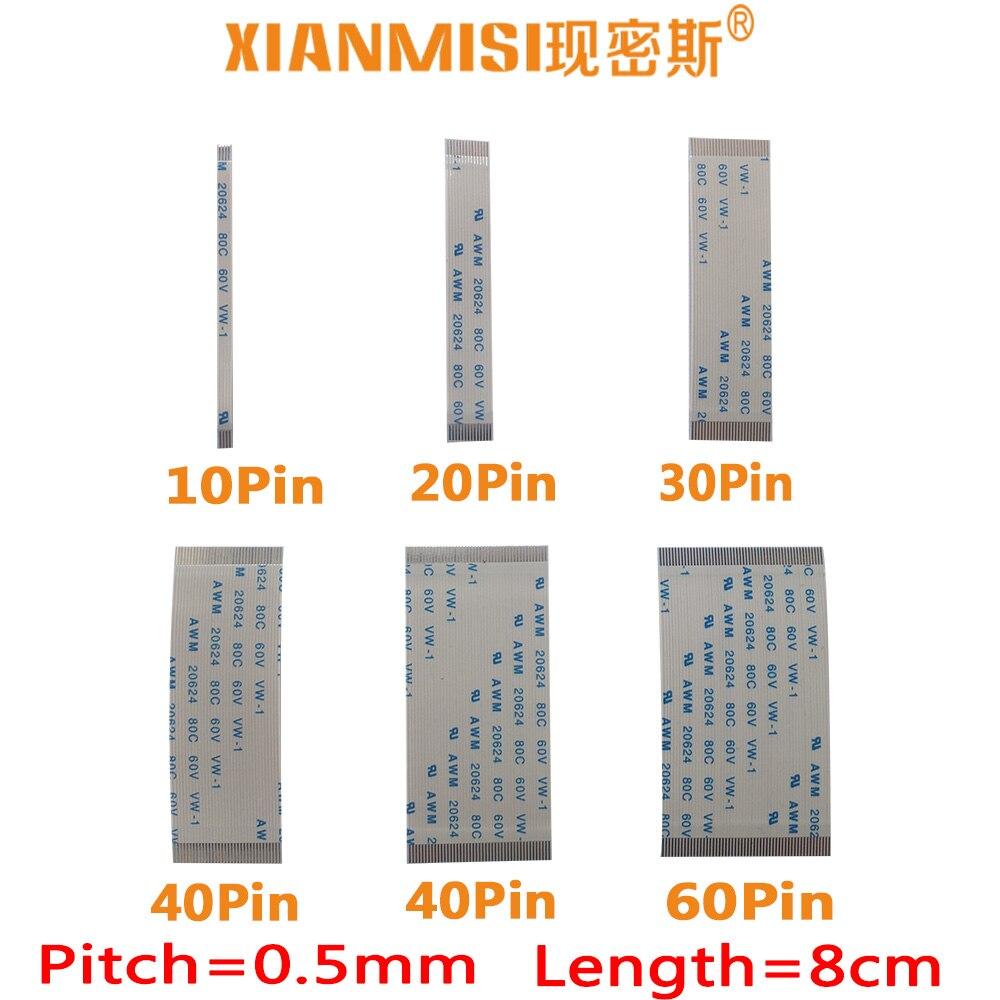FFC/FPC planos Flex Cable 10Pin 20Pin 30Pin 40Pin 50Pin 60Pin mismo lado 0,5mm AWM VW-1 20624 20798 80C 60V Longitud 8cm 5 uds