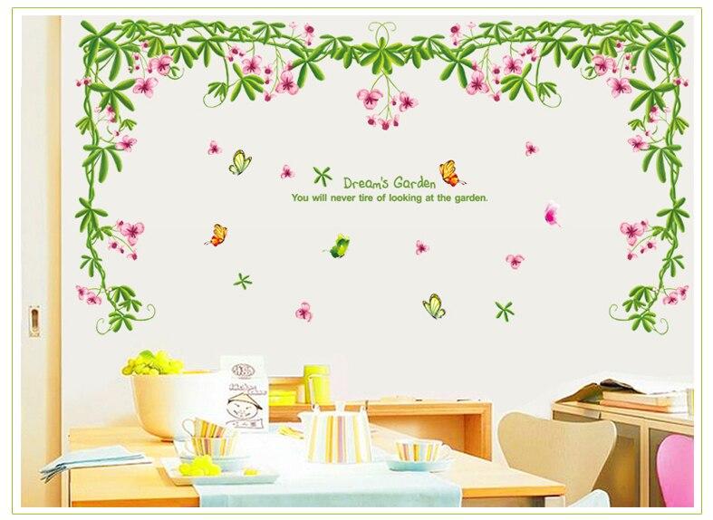 Pegatina de pared de vid flor romántica, sala de estar pegatinas de pared del dormitorio para, decoración de pared, decoración del hogar, autoadhesivos, papel tapiz de murales