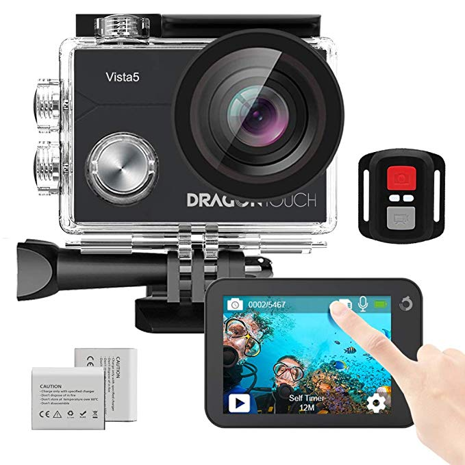 Экшн-камера Dragon Touch Vista 5, 4K, сенсорный экран, 16 Мп, Wi-Fi, 30 м, водонепроницаемая камера, угол обзора 170 °, 2 аккумулятора и крепление