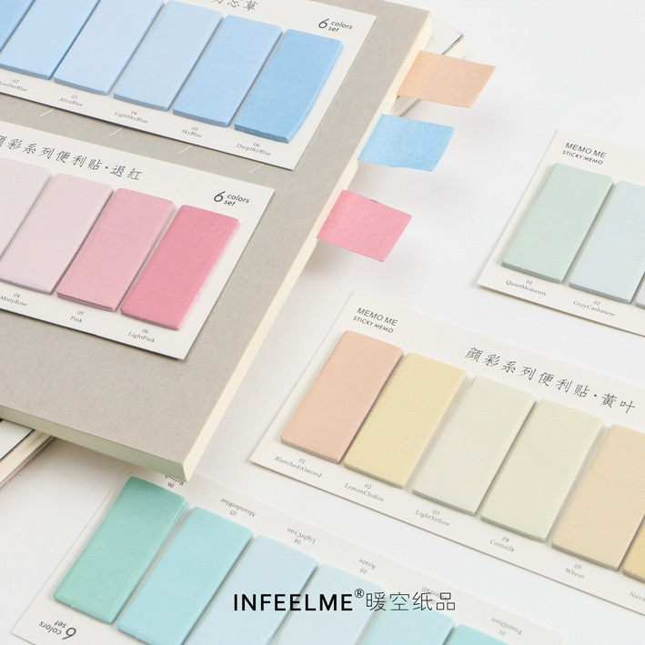 6 unids/set colorido Post Note, pegatinas lindas notas adhesivas Scrapbooking, papelería Kawaii