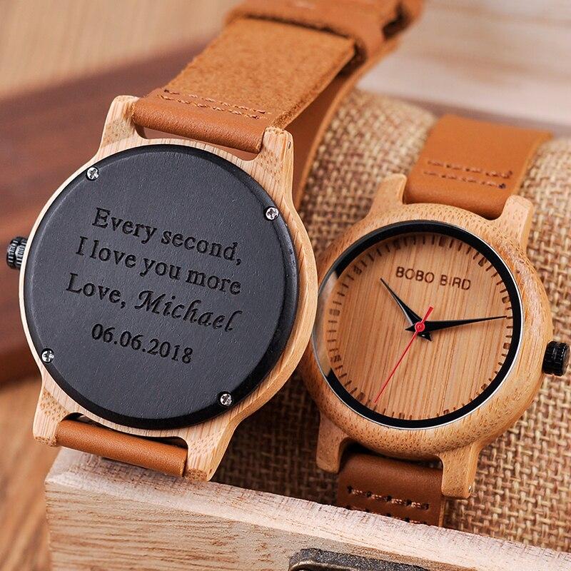 BOBO BIRD-ساعة كوارتز منقوشة للزوجين ، هدية للرجال والنساء ، العائلة ، الابن ، الأب ، الأم ، شعار bayan kol saati