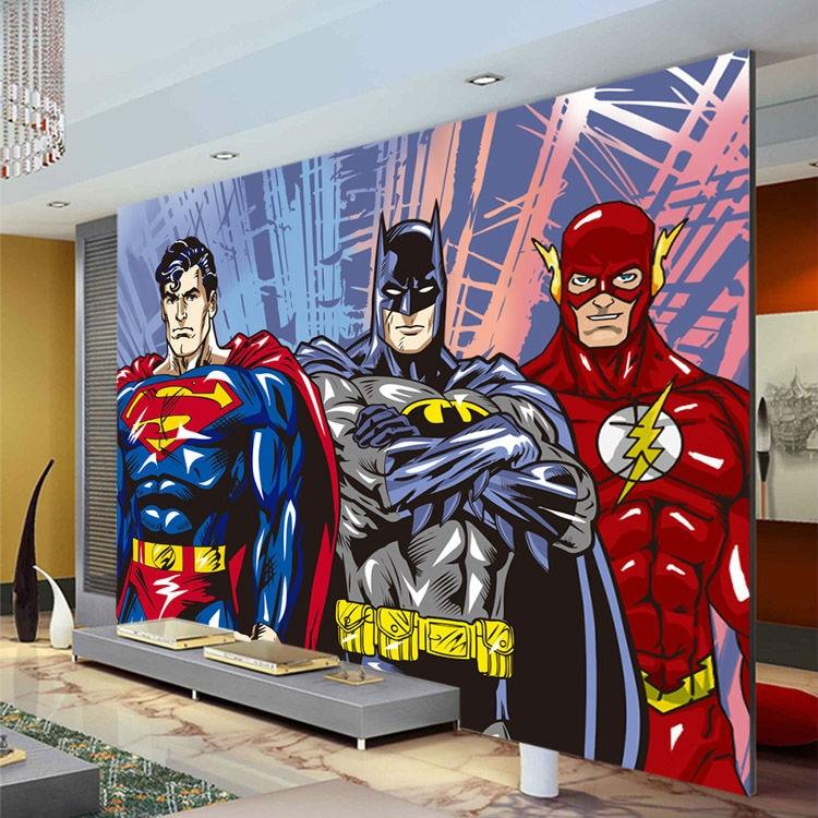 Murales de pared personalizados en 3D, papel tapiz Flash de Batman Superman, papel tapiz de foto de cómic, decoración de superhéroe para habitación de niños y dormitorio