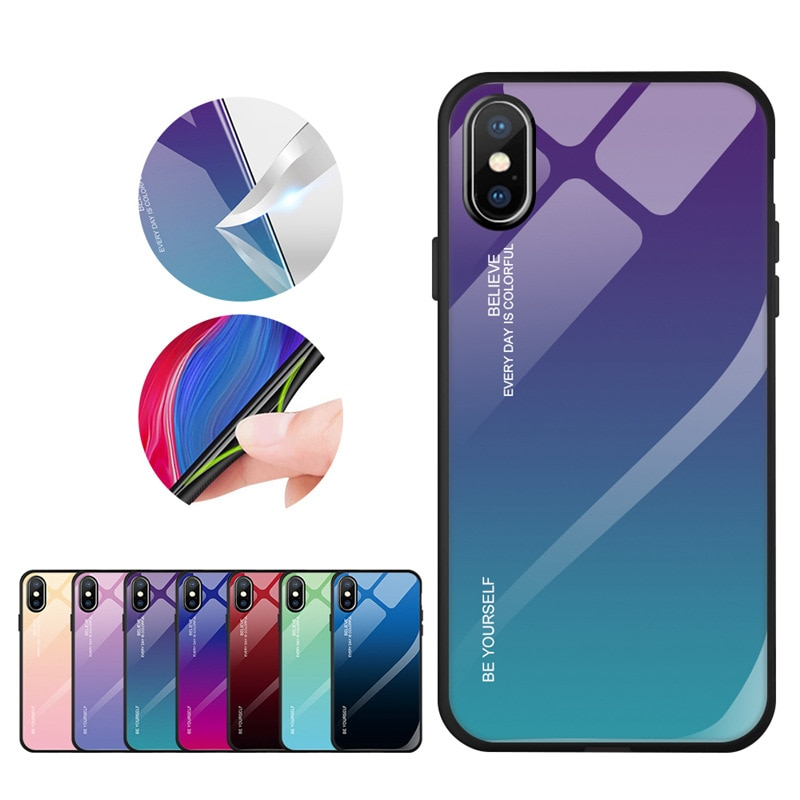 Funda de vidrio templado para iPhone 6 6S Plus XS XR 7 8 X gradiente Color azul Ray Aurora funda trasera para iPhone XS Max XS XR