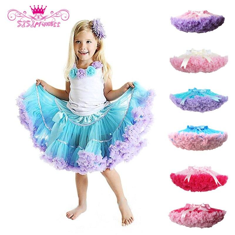 Venta de fábrica moda mullida Chiffon Pettiskirts tutú para niñas faldas princesa Falda de baile ropa de fiesta envío gratis