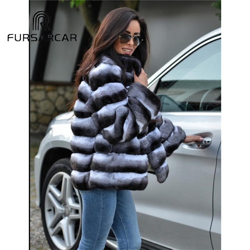 FURSARCAR Women New Real Fur Coat Luxury Winter Rex Rabbit Fur Jacket With Fur Collar Female Fashion Rex Rabbit Fur Coat