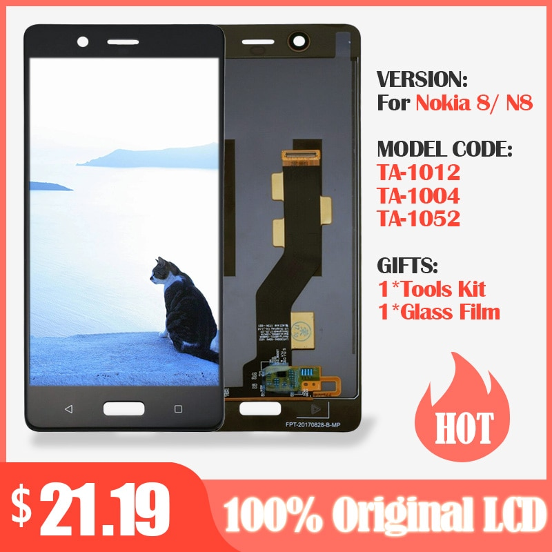 100% Original LCD For Nokia 8 LCD Display with Touch Screen Digitizer Assembly Black for Nokia 8 lcd display Replacement