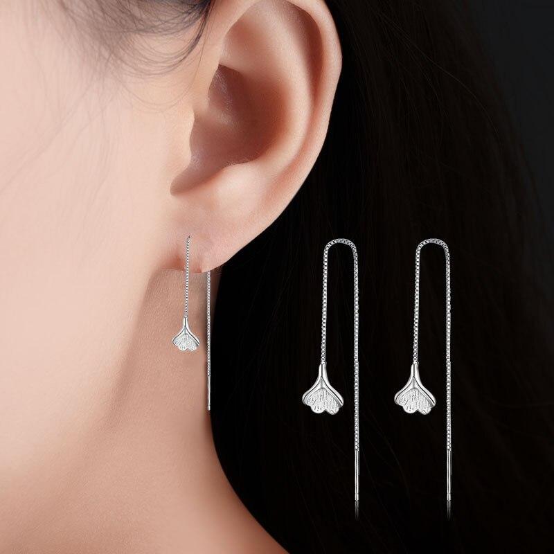 Dulce hoja de albaricoque pendientes largos para mujer chica femenina borla cristal temperamento oreja cadena joyería japonesa coreana