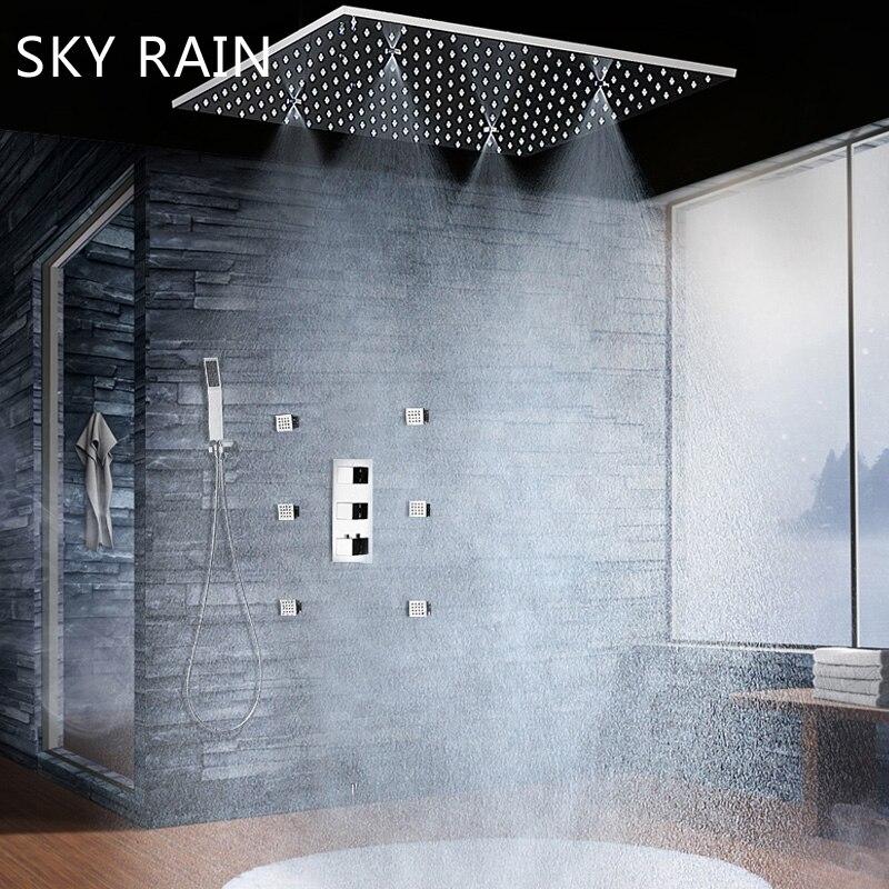 2021 الحمام الكلاسيكية 20 بوصة مربع سماعات رأس دش ترموستاتي خلاط كلبشة المطر رذاذ رذاذ رذاذ دش صنبور