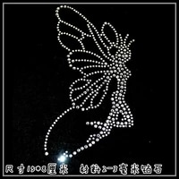 2pclot flying angel hot fix rhinestone motif designs iron on crystal transfers design applique patches for shirt bag