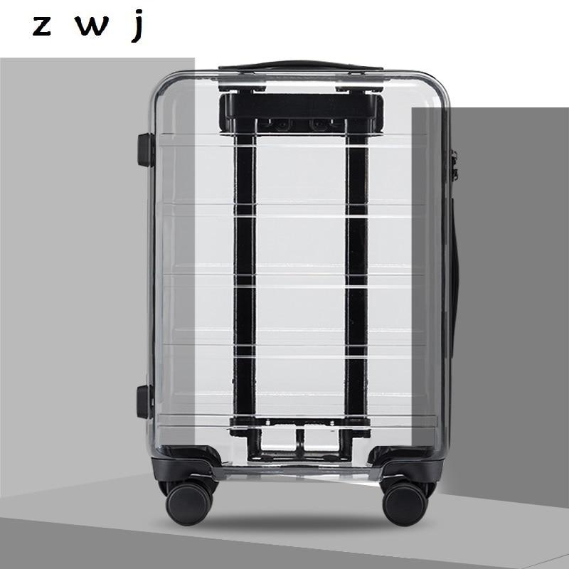 Maleta enrollable de marca de 20 pulgadas, maletas y bolsas de viaje, maleta de mano para llevar, Maleta giratoria de 4 ruedas, equipaje transparente