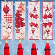 014 DIY Handwerk Stich Kreuz Stich Lesezeichen Weihnachten Kunststoff Stoff Hand Stickerei Handwerk Gezählt Kreuz-Stitching Kit