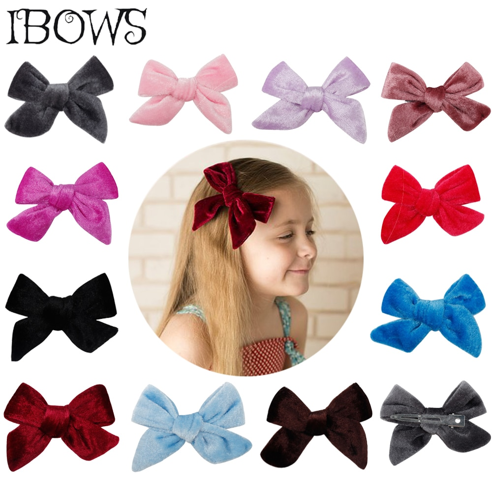 11Pcs/Lot Hair Accessories Solid Velvet Hair Bows Lovey Hair Clips For Girls/Kids Hairgrips Handmade Bow-knot Hairpins Headwear