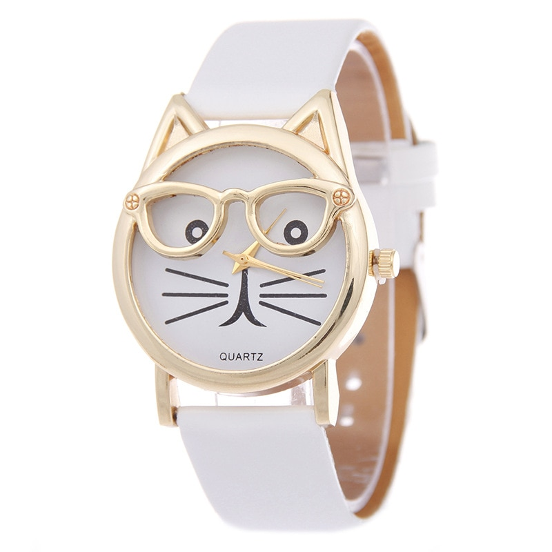 Relogio Feminino 2018 Fashion Clock Cute Cartton Glasses Cat Analog Quartz Dial Wrist Ladies Watch Women's Watches Montre Femme