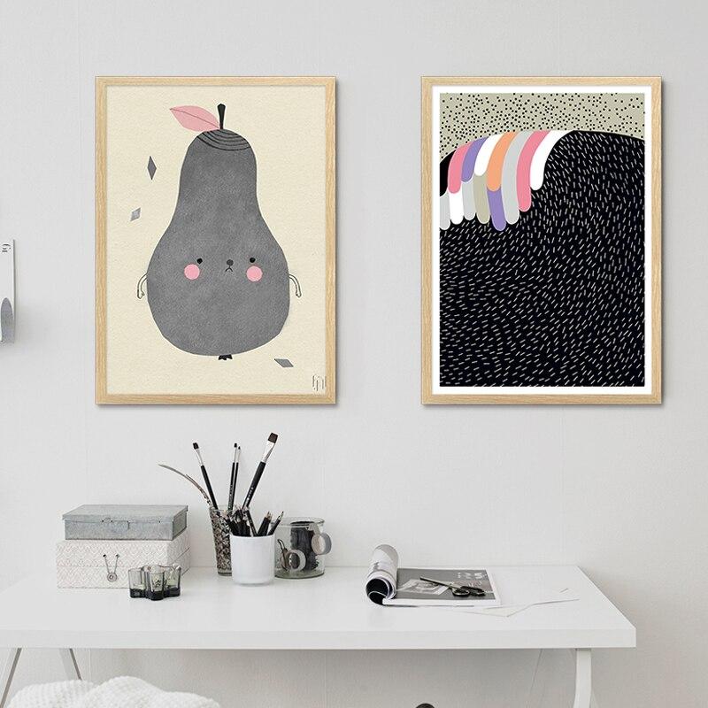 2017 dibujo nórdico pintura de pera Linda sobre lienzo cartel impreso Plaints imagen para la decoración del hogar de la sala de estar