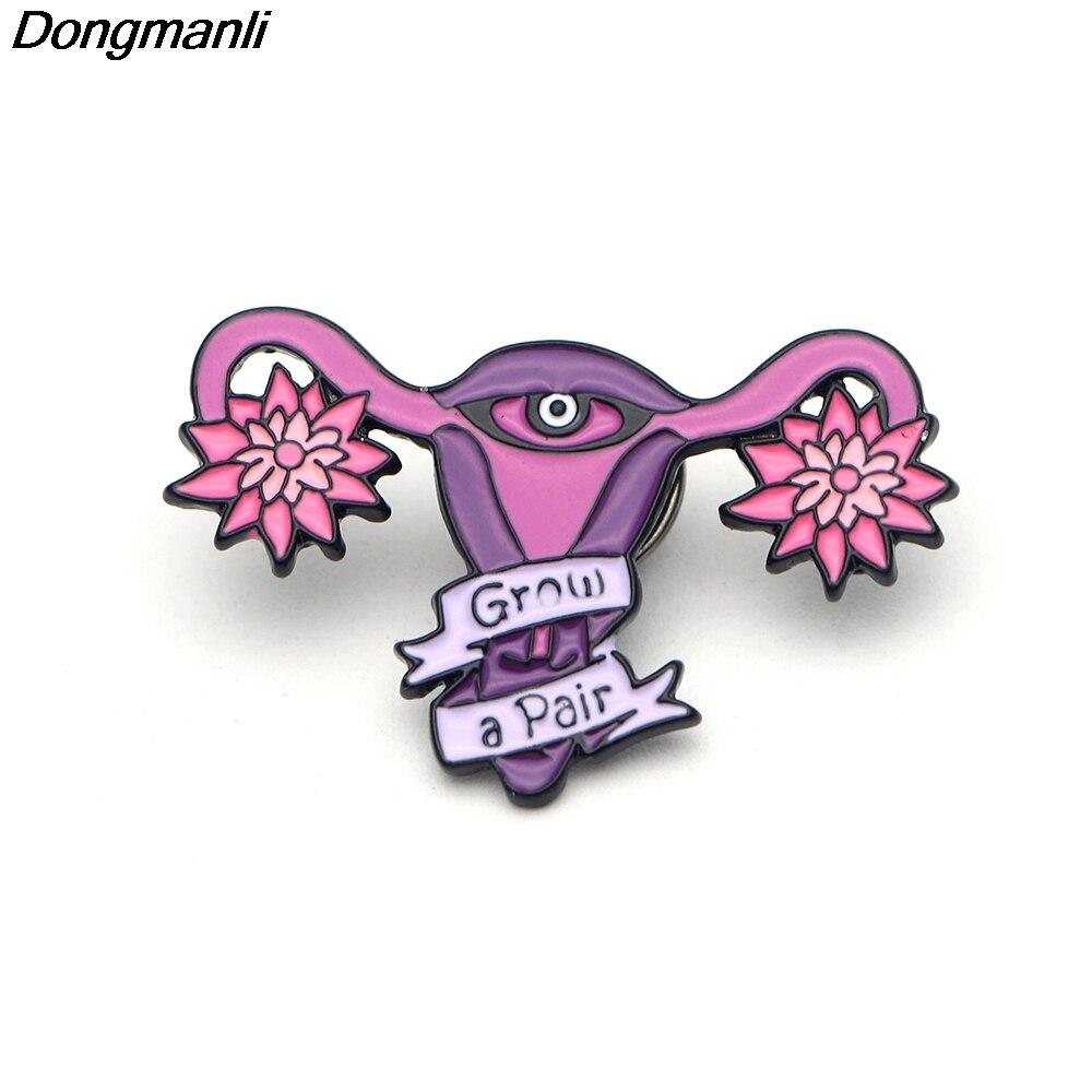 P2343 Dongmanli High grandir une paire épinglette en émail utérus féministe Badge épinglettes et broche femmes cadeau métal artisanat collier bijoux