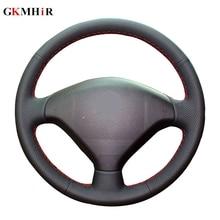 Couverture de volant en cuir artificiel   Noir, bricolage, couverture de volant de voiture pour Peugeot 307
