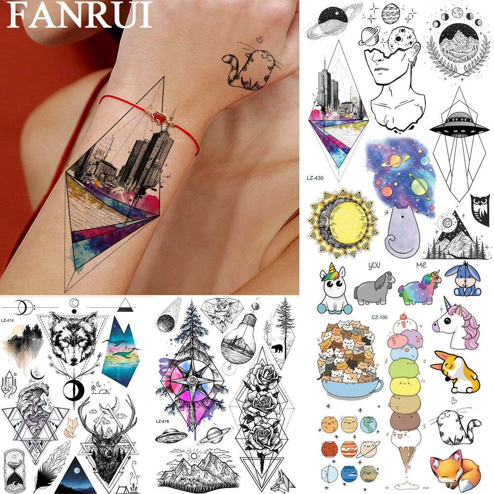 FANRUI Watercolor Geometric Rhombus City Temporary Tattoo Sticker For Men Women Rose Flower Arm Tatoos Body Art Arm Leg Tattoos
