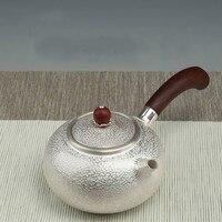 Sterling silver handmade 999 red sandalwood side pot sterling silver hammer pattern silver pot tea set
