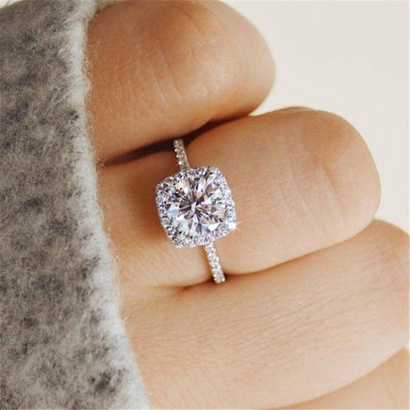 Nouveau Design de luxe carré blanc CZ anneaux pour femmes AAA Zircon couleur argent bande de mariage Bijoux bague de fiançailles Bijoux anillos